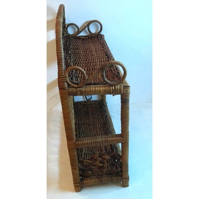 Mid-Century Modern Vintage Wicker Hanging Shelf For Sale - Image 3 of 8