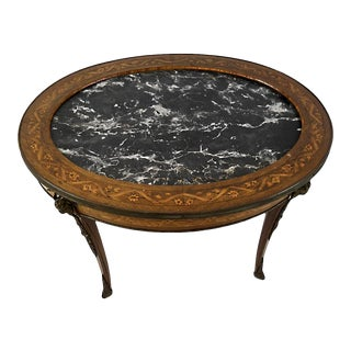 Antique French Marquetry and Marble Coffee Table For Sale