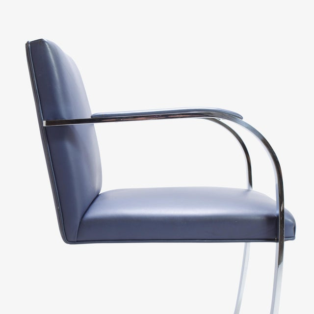 Mies Van Der Rohe for Knoll Brno Flat-Bar Chairs in Navy Leather, Pair - Image 6 of 11