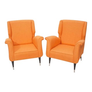 Pair of Contemporary Italian Style Fabric Lounge Chairs For Sale