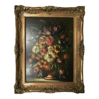 Traditional Framed Floral Painting