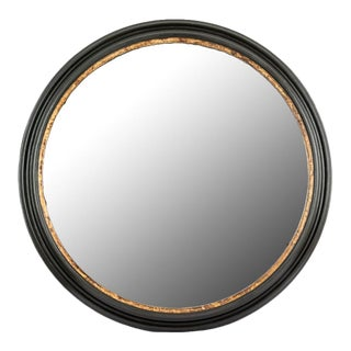 Hand-Carved Black & Antiqued Gilt Round Mayson Wall Mirror For Sale