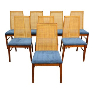 Set of Eight Rosewood + Cane Highback Dining Chairs by Dyrlund For Sale