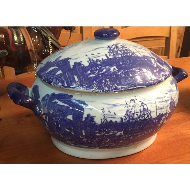 Lovely pair of RARE 19th Century …… British Staffordshire, Ironstone, Victoria ware, blue and white pottery tureens with...