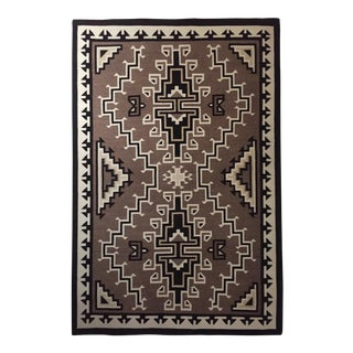 Early-20th Century Vintage Framed Two Grey Hills Navajo Indian Rug, 6.25 X 4.13 Ft For Sale
