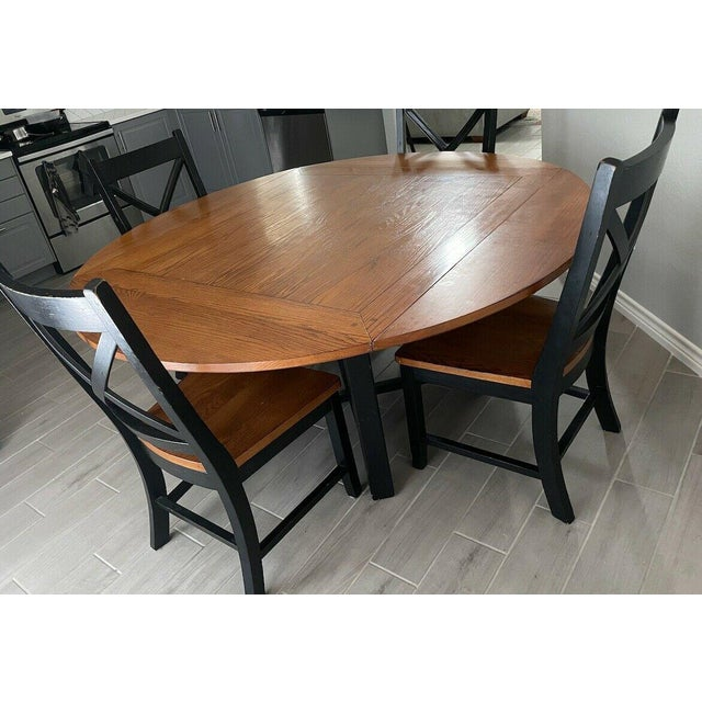 Farmhouse Red Oak With Black Wood Accent Dining Table 4 Chairs Chairish