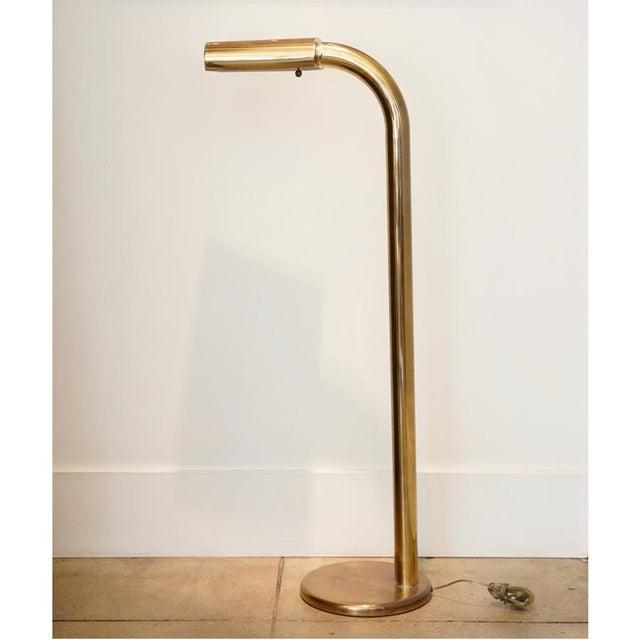 Mid-Century Modern 1970s Brass Tube Floor Lamp For Sale - Image 3 of 9