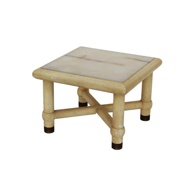 Side Table with X Base and Onyx Top in the Style of Karl Springer For Sale - Image 4 of 7