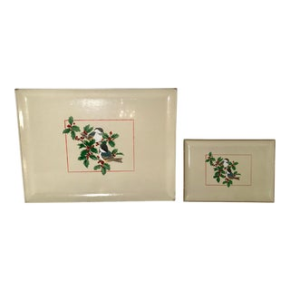 Vintage Mid-Century Lacquered Holiday Trays - A Pair For Sale