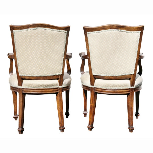 Pair of Italian Neoclassic Walnut Armchairs For Sale - Image 12 of 13
