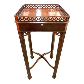 19th Century Chinese Chippendale Mahogany Fretwork Table For Sale