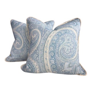 """Schumacher """"Pasha Paisley"""" in Sky Pillows - a Pair For Sale"""