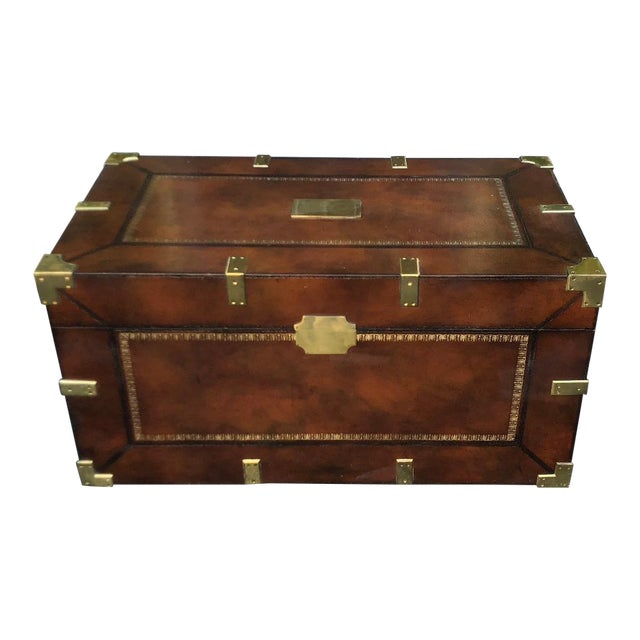 Maitland Smith Designer Leather Campaign Trunk For Sale