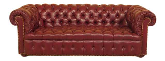 English Style Tufted Leather Chesterfield Sofa