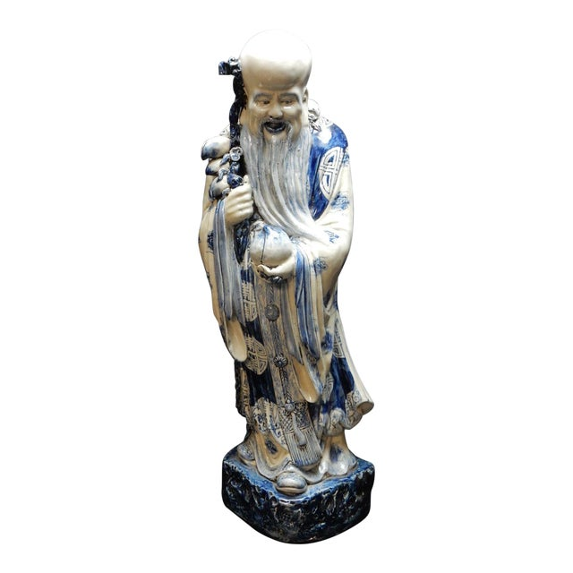 Antique Chinese Blue and White Porcelain Statue of Shoulao 32 Inches For Sale