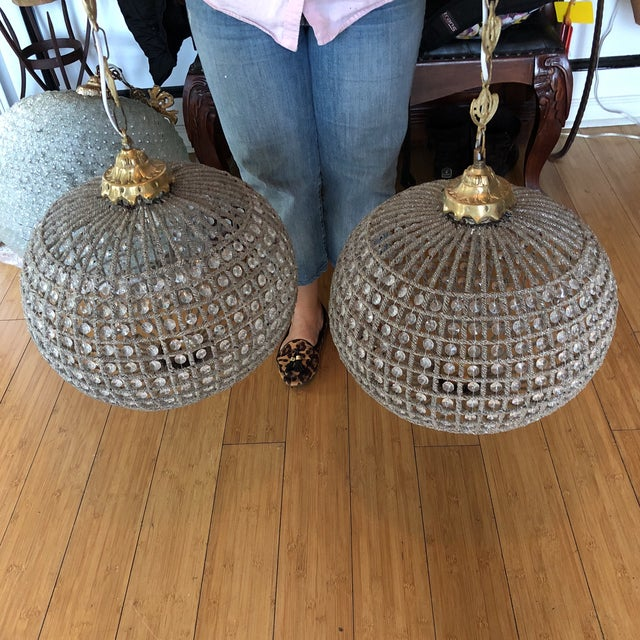 Traditional Large Sphere Crystal Chandeliers - a Pair For Sale - Image 3 of 7