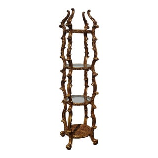 Vintage Gold Rococo Etagere Stand ~ Italian Style Display Case For Sale