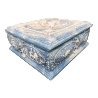 Large Shabby Chic Incolay Stone Inlay Jewelry Vanity Lidded Box For Sale