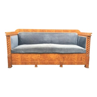 Antique Biedermeier Birch Sofa With Trundle