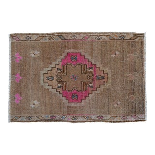 Low Pile Turkish Rug Hand Knotted Faded Mat Yastik Rug - 17'' X 26'' For Sale