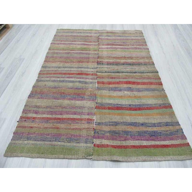 Islamic Colorful Striped Turkish Rag Rug - 5′2″ × 7′4″ For Sale - Image 3 of 6