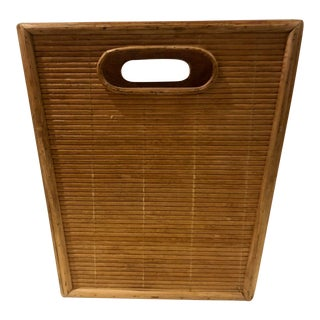 Vintage Split Reed Bamboo Rattan Waste Basket For Sale