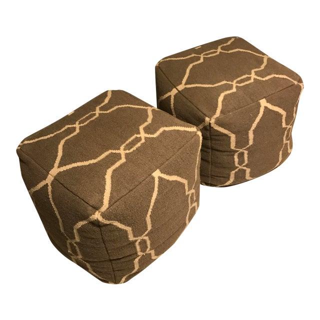 Jill Rosenwald Dhurrie Cube Poufs - Pair - Image 1 of 7