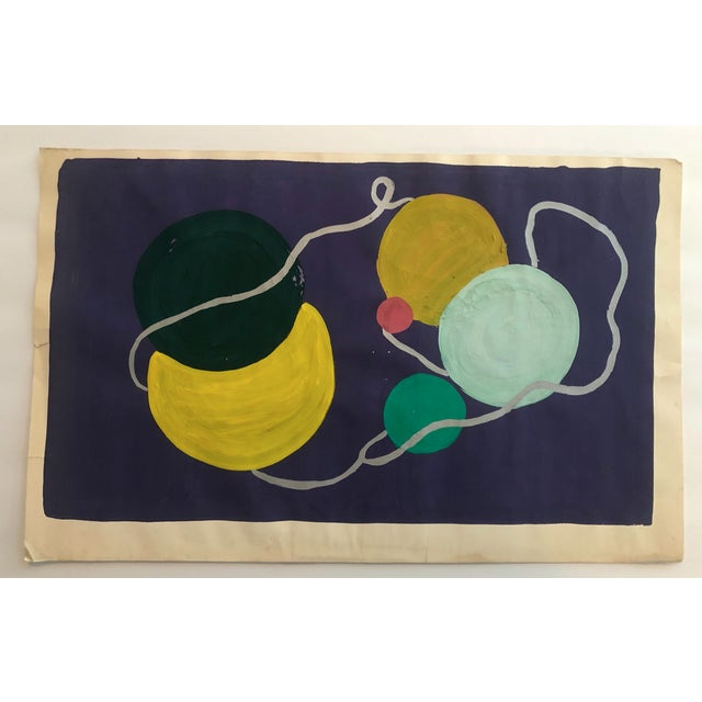 Mid-Century Modern Vintage Still lIfe Knitting Painting 1950s For Sale - Image 3 of 4