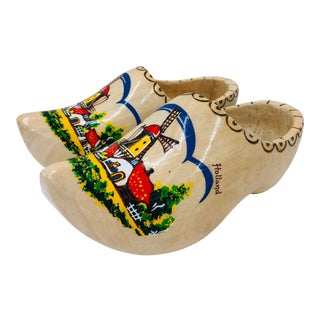 Vintage Hand Painted Clogs From Holland For Sale