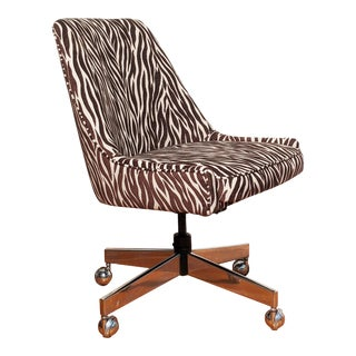 Animal Print Upholstered Desk Chair For Sale