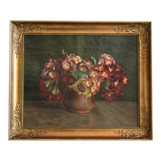 Antique Framed English Floral Still Life Oil Painting