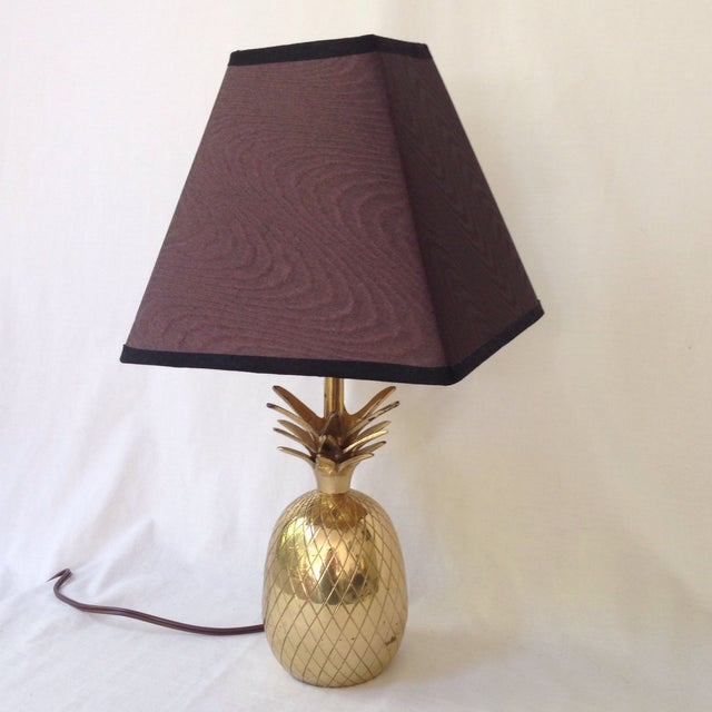 Hollywood Regency Brass Pineapple Lamp For Sale - Image 3 of 5