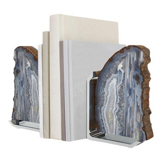 Fim Bookends, Natural Agate & Pure Silver, Set of 2 For Sale