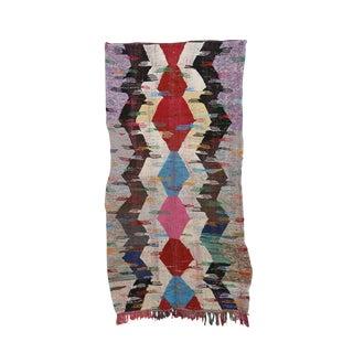 "Kilim Boucherouite Moroccan Kilim, 4'4"" X 7'8"" Feet"
