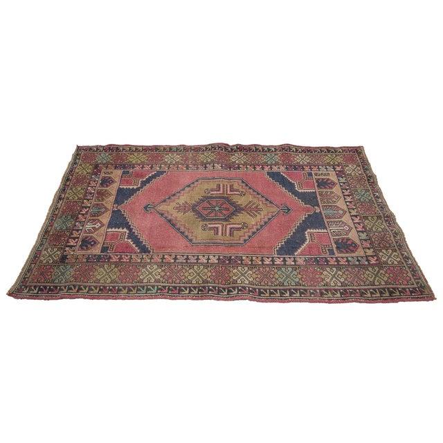 Islamic Vintage Decorative Turkish Area Rug- 3′8″ × 5′10″ For Sale - Image 3 of 7