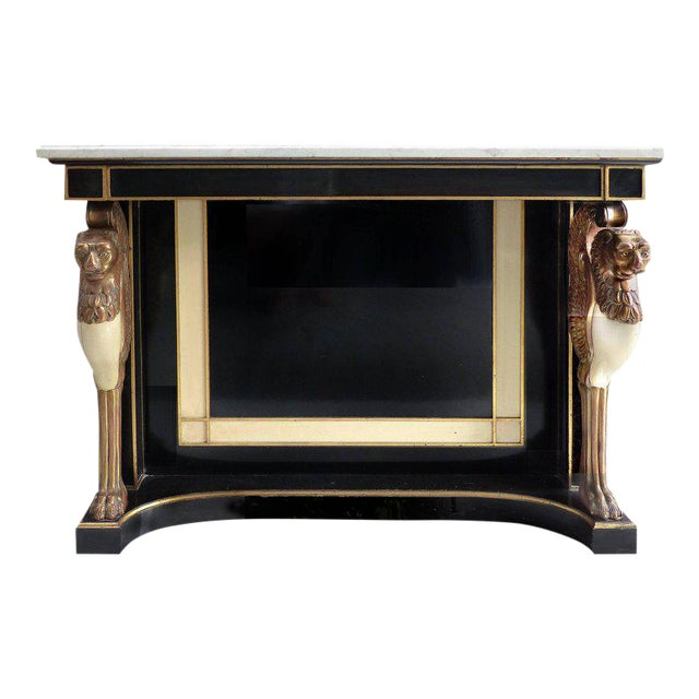 Carved Wood and Marble Empire Revival Console Table, Manner of Maison Jansen For Sale
