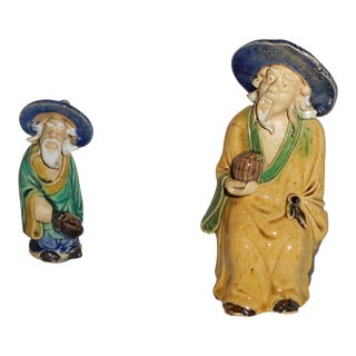 2nd Pic Is Better--Antique Chinese Mudmen Figures Scholars on Carrara Marble Plinths - a Pair