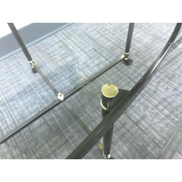 Metal Ebonized Brass & Brass Oval Beveled Glass La Barge Hooved Coffee Table For Sale - Image 7 of 11