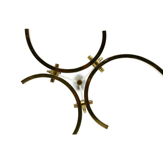 Metal Glass & Brass Chandelier, Italy 1950`s For Sale - Image 7 of 8