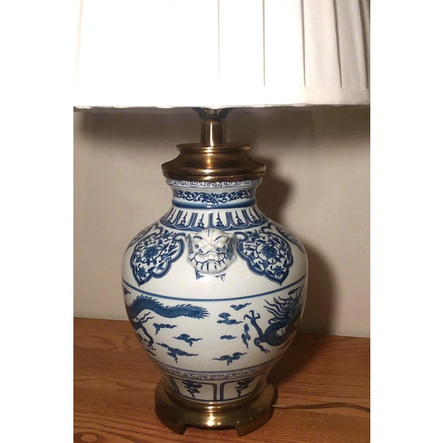 1960s Paul Hanson Blue & White Chinoiserie Dragon Porcelain Table Lamps - A Pair For Sale - Image 12 of 12