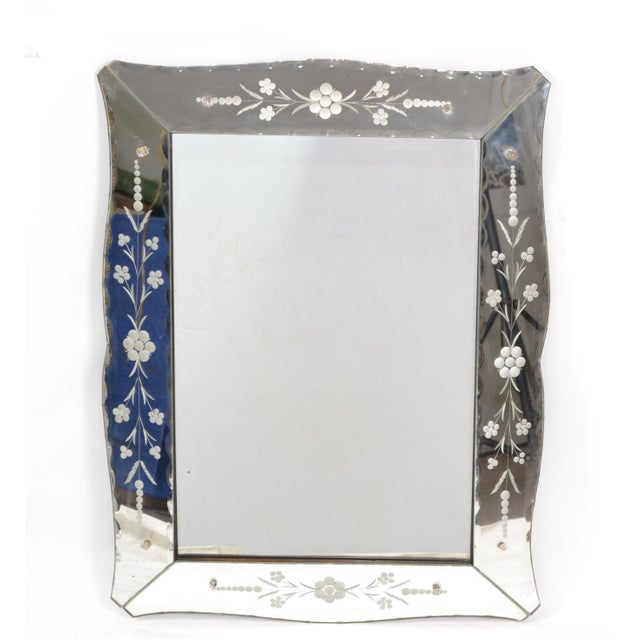 Italian Mid-Century Modern, Faceted & Etched Venetian Wall Mirror For Sale - Image 10 of 13