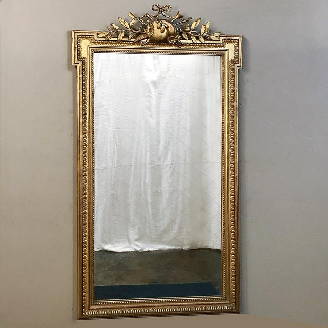 19th Century French Louis XVI Style Gilded Mirror For Sale - Image 4 of 12
