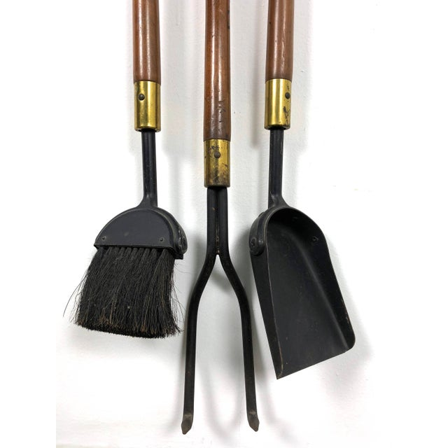 1960s Seymour 1960's Walnut Iron & Brass Fire Tools and Log Rack - Set of 6 For Sale - Image 5 of 11