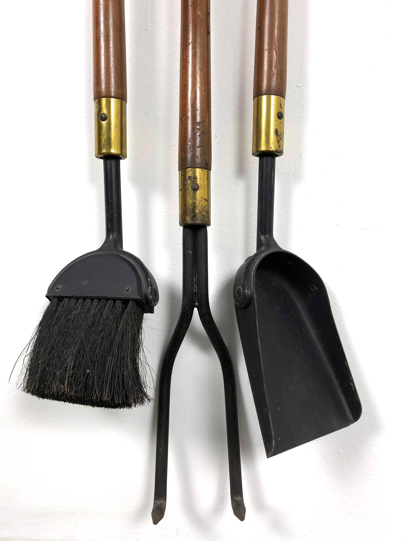 1960s Seymour 1960u0027s Walnut Iron U0026 Brass Fire Tools And Log Rack   Set Of 6