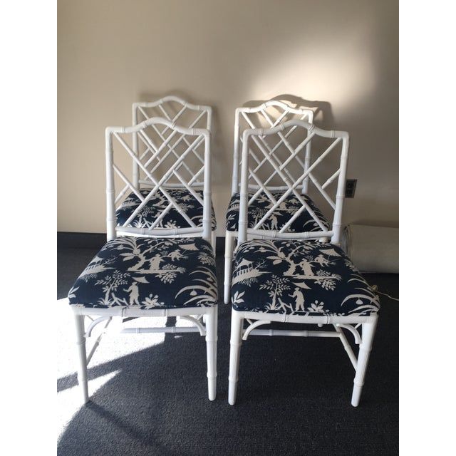Chippendale White Bamboo Chairs - Set of 4 - Image 2 of 8