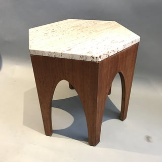 1960s Moorish Harvey Probber Travertine Top Hexagon Side Table Preview