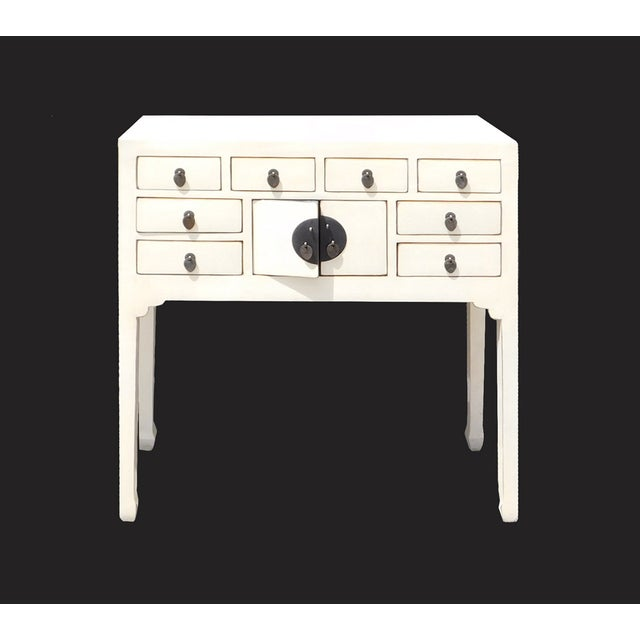 Off-White Distressed Console Table - Image 2 of 7