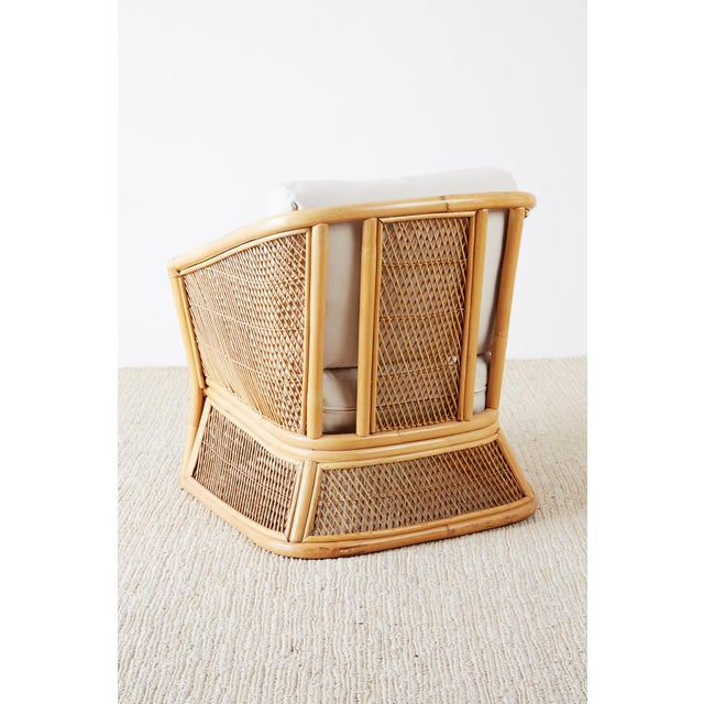 Midcentury Bamboo Rattan Wicker Lounge Chair For Sale - Image 11 of 13