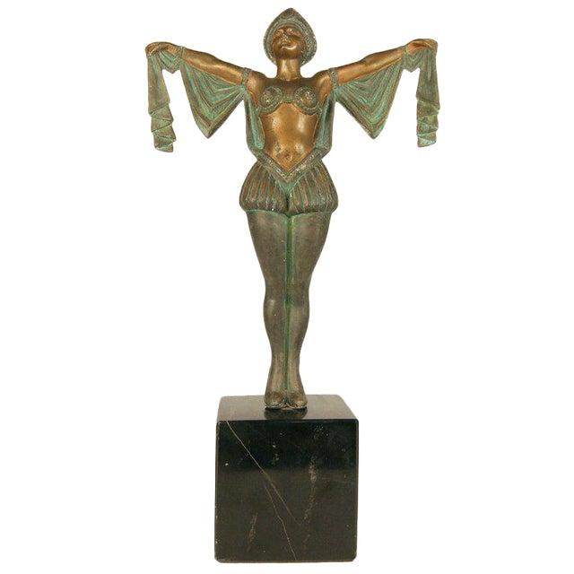 Art Deco Flapper Erotic Dance Spelter Female Statue For Sale