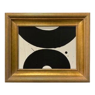 Ron Giusti Mini Wagasa 1 Cream and Black Acrylic Painting, Framed For Sale